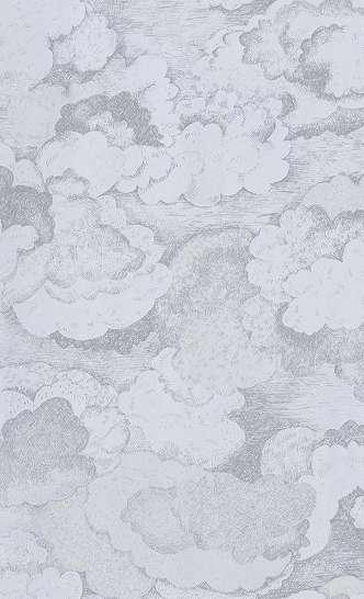 Gyerek tapéta halványkék felhős mintával
