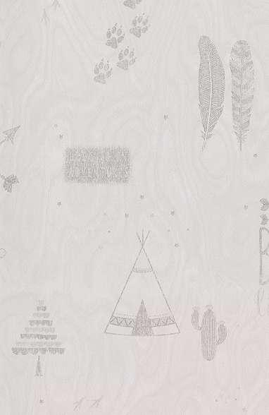 Gyerek tapéta indián sátor mintával bézs színben skandináv stílusban