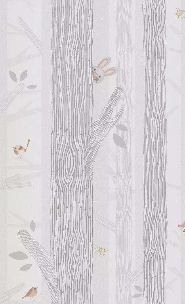 Gyerek tapéta kedves erdei állatokkal rajzolt stílusban