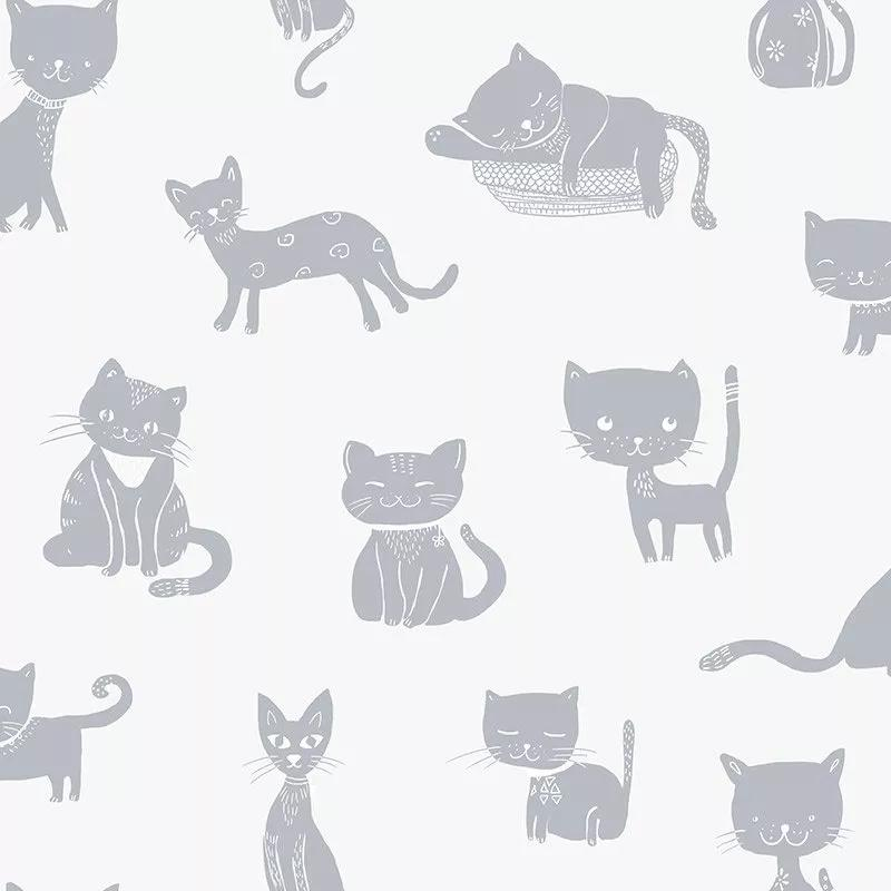 Gyerek tapéta kedves macska mintával bézs ezüst színben