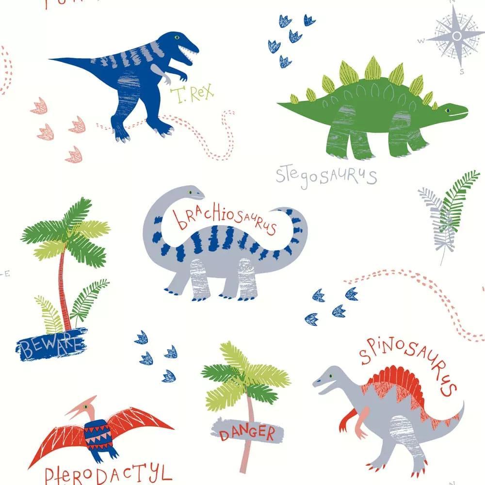 Gyerek tapéta kedves rajzolt dinó mintával