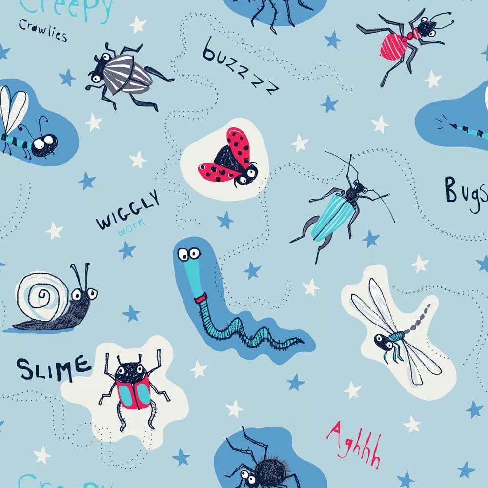 Gyerek tapéta kék alapon vicces bogár mintákkal