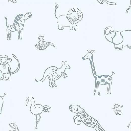 Gyerek tapéta kék színben rajzolt afrikai állat mintákkal