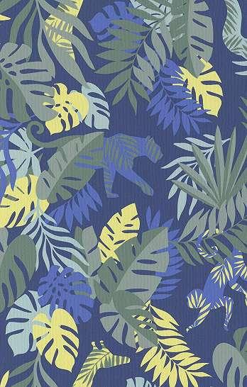 Gyerek tapéta kék színben trópusi mintákkal