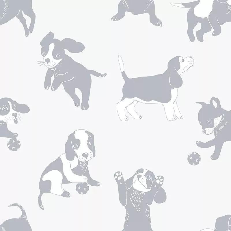 Gyerek tapéta kölyök kutya mintákkal krém ezüst színekkel