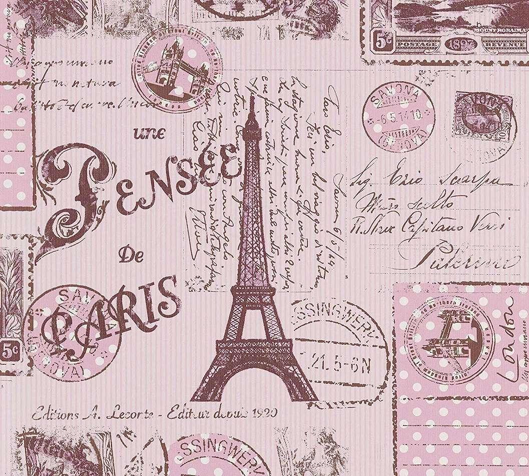 Gyerek tapéta lila színben Párizs, Eiffel torony mintával