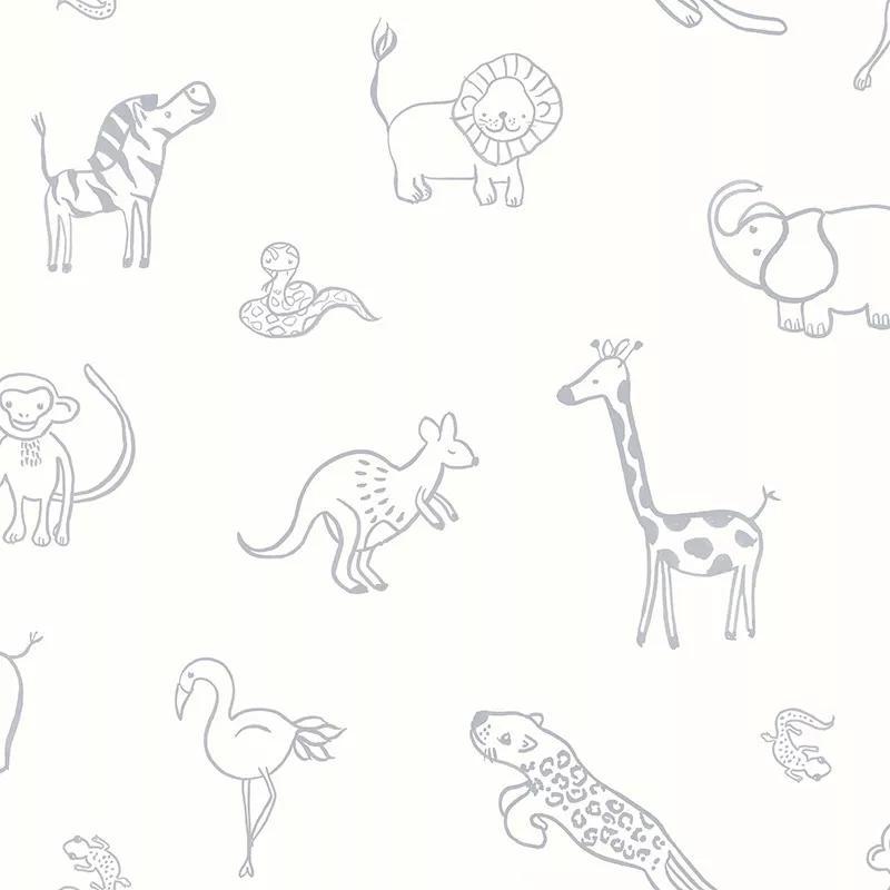 Gyerek tapéta rajzolt afrikai állat mintával, elefánt, zsiráf, oroszlán