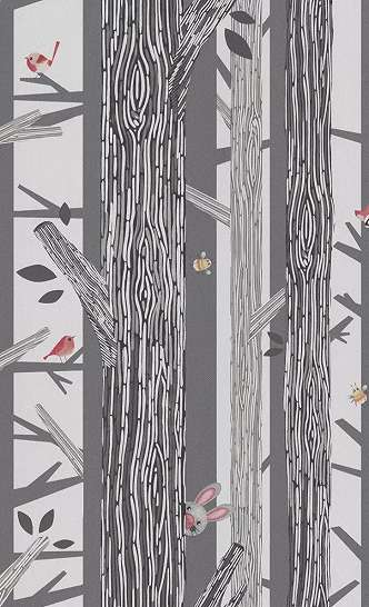 Gyerek tapéta rajzolt fa mintával kedves erdei állatokkal
