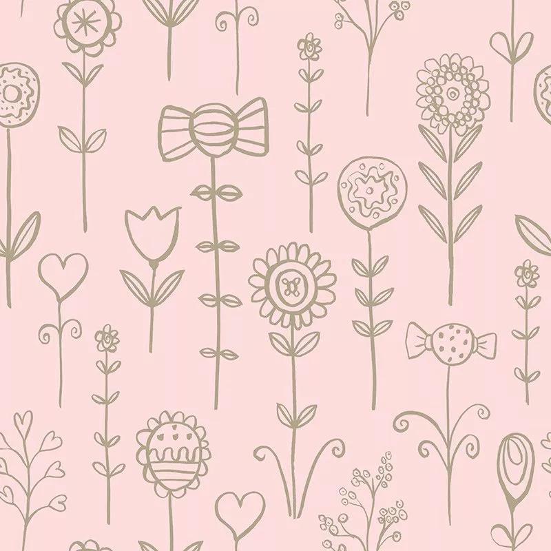 Gyerek tapéta rózsaszín alapon arany rajzolt virág mintával