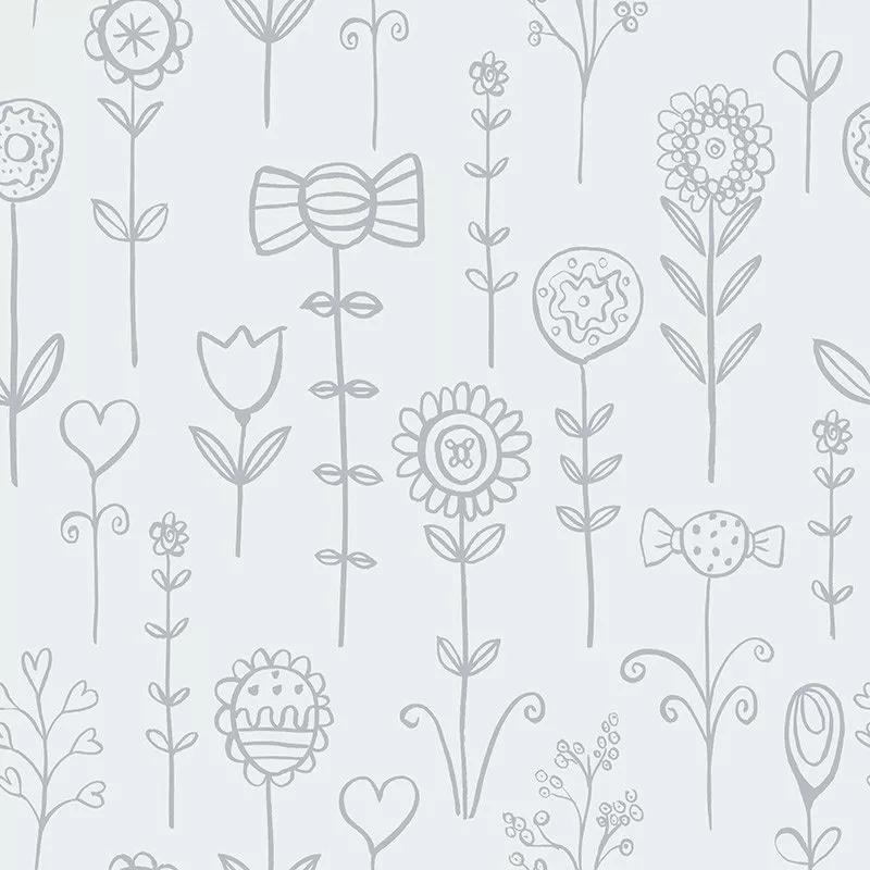Gyerek tapéta skandináv stílusú rajzolt virág mintával