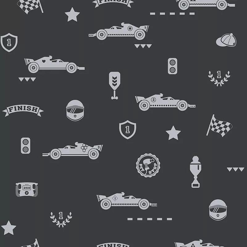 Gyerek tapéta sötétkék alapon ezüst verseny autó mintával