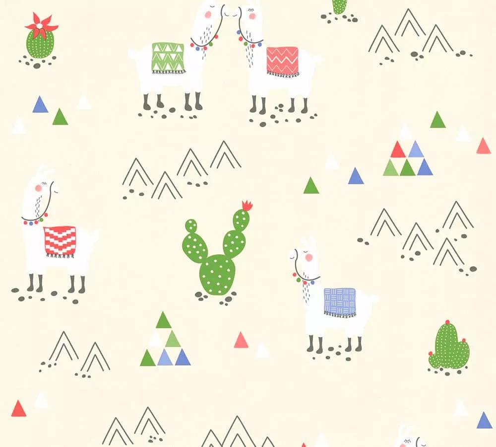 Gyerek tapéta trendi láma kaktusz mintával, bézs, krém színvilágban
