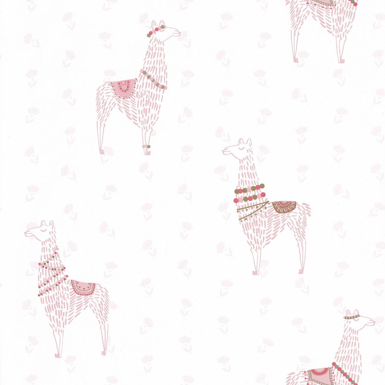 Gyerek tapéta trendi rózsaszín láma mintával