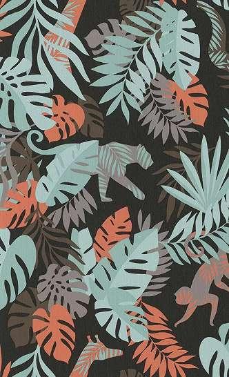 Gyerek tapéta trópusi, állat mintával fekete, piros, türkíz színben