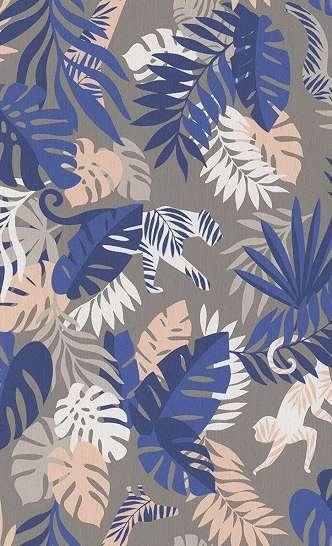 Gyerek tapéta trópusi állat mintával kék, rózsaszín és taupe alap színnel