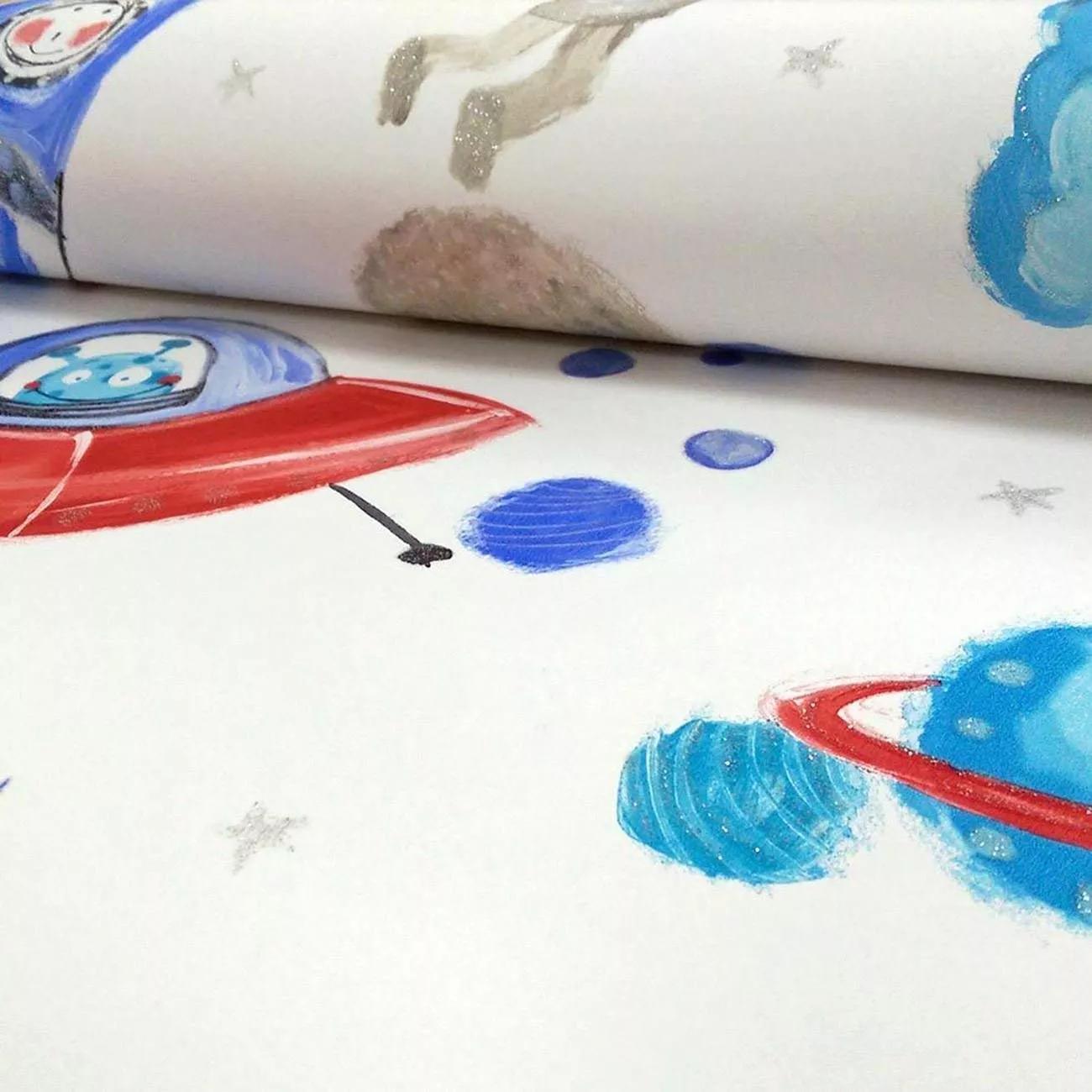 Gyerek tapéta űrható mintával fehér alapon