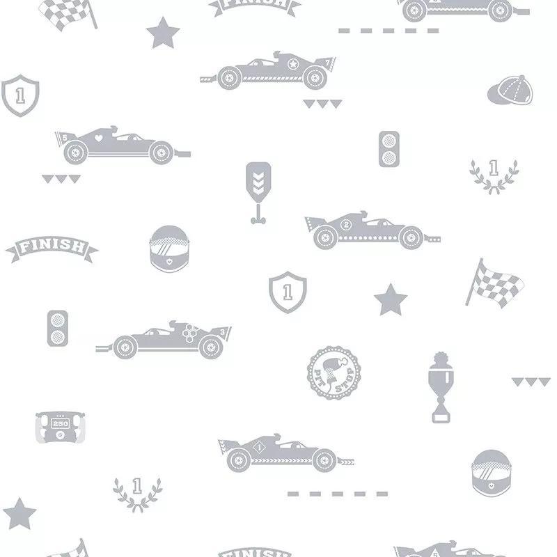 Gyerek tapéta verseny autó mintával ezüst színű autó mintával