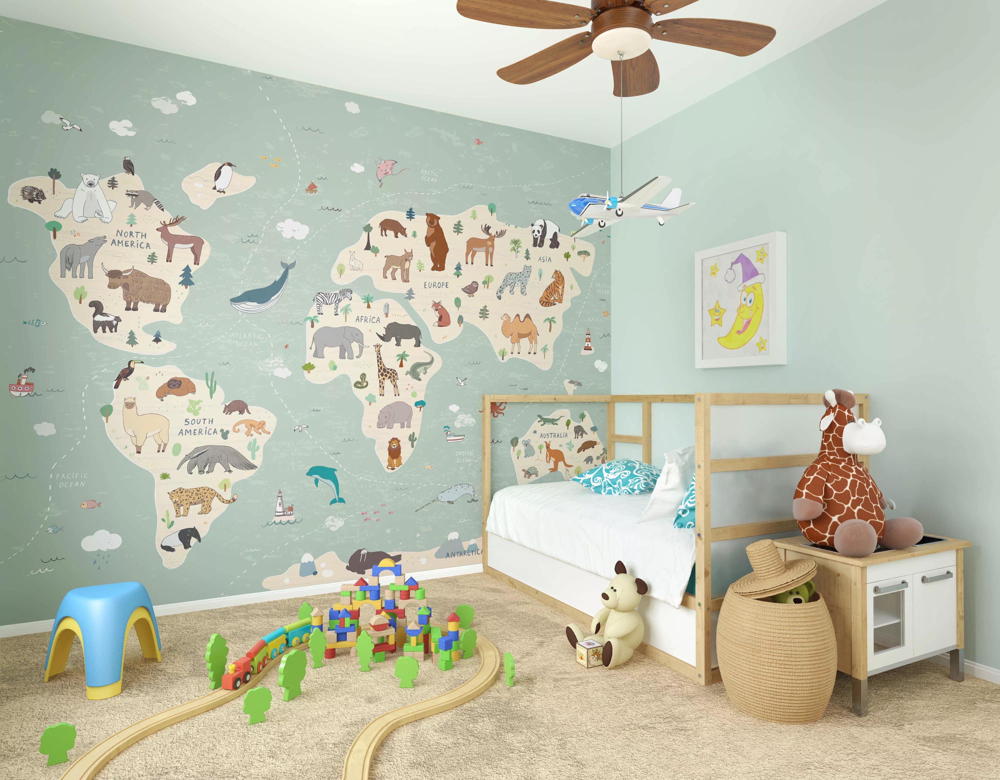 Gyerekszobai fali poszter állatok a világtérképen mintával