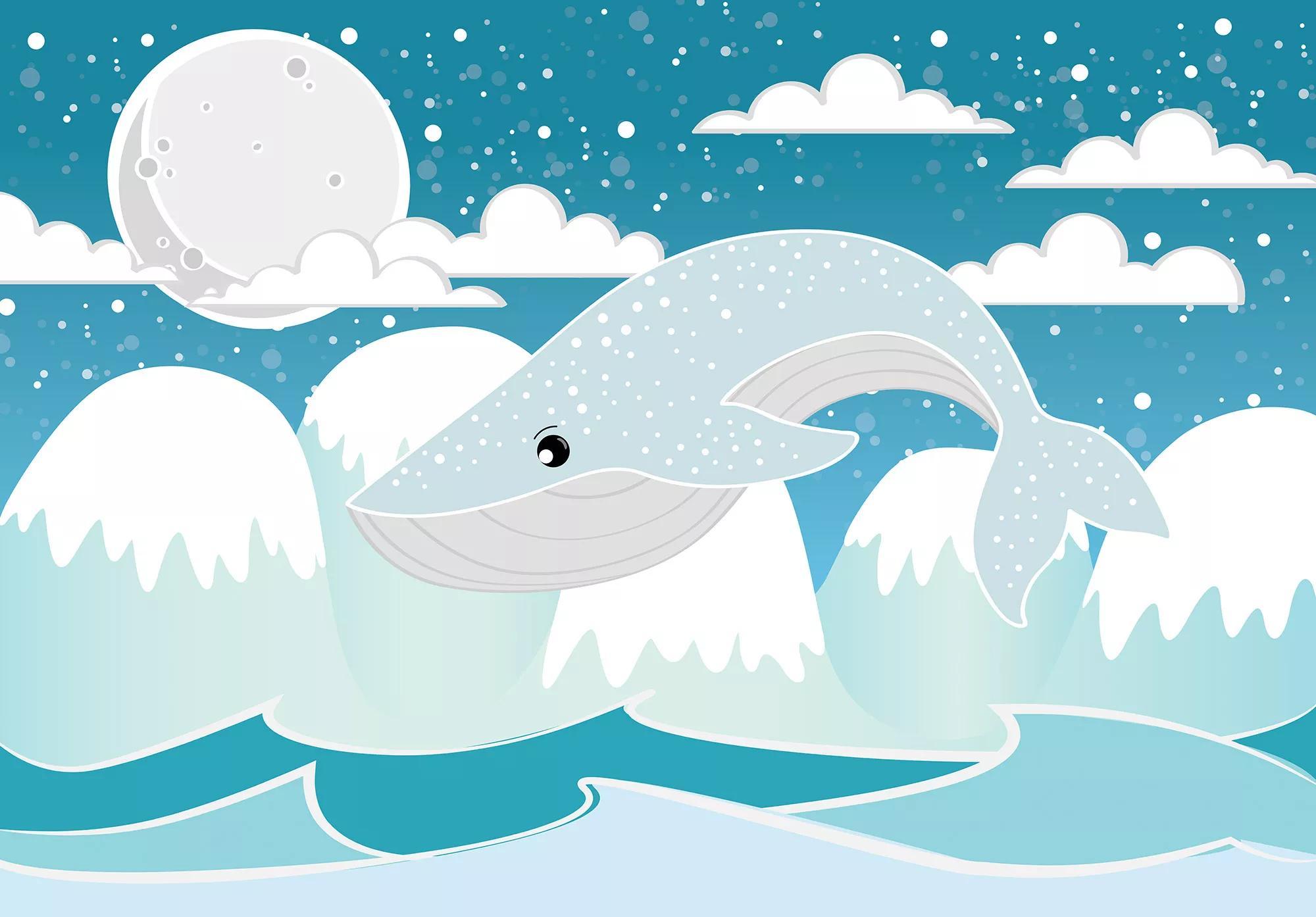 Gyerekszobai fali poszter kék bálna mintával