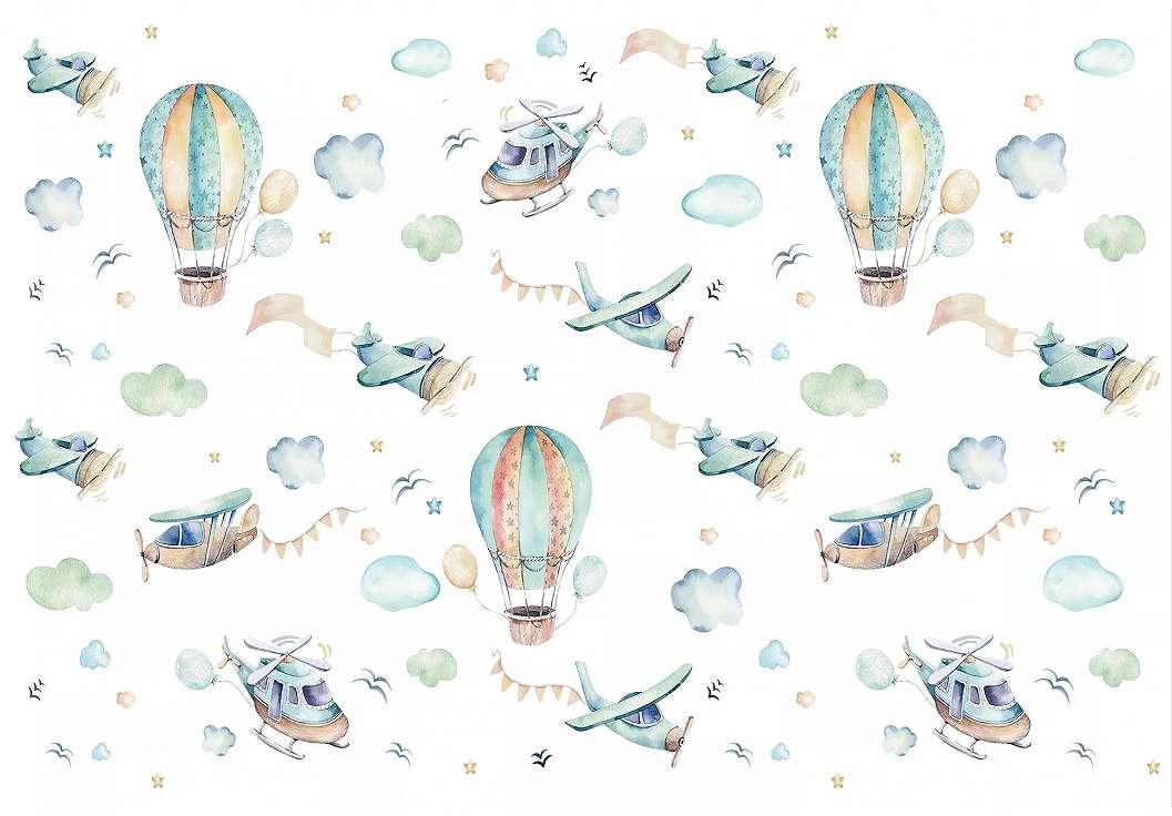 Gyerekszobai fali poszter léggömb és repülők mintával