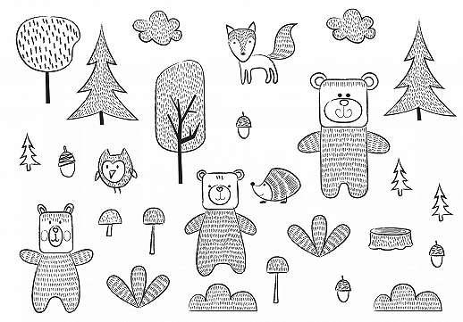 Gyerekszobai fali poszter rajzolt erdei állat mintákkal fekete fehér színben