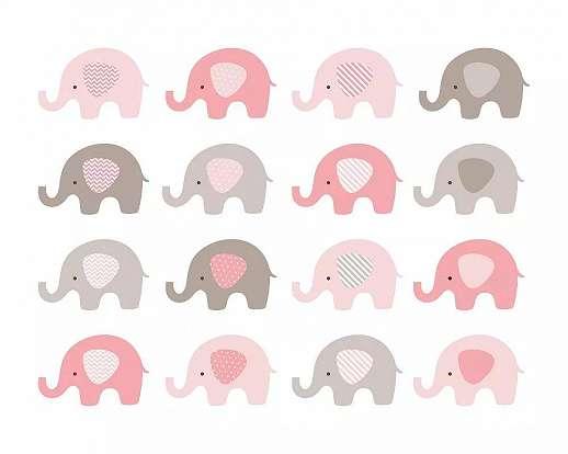 Gyerekszobai fali poszter rózsaszín baby elefánt mintával