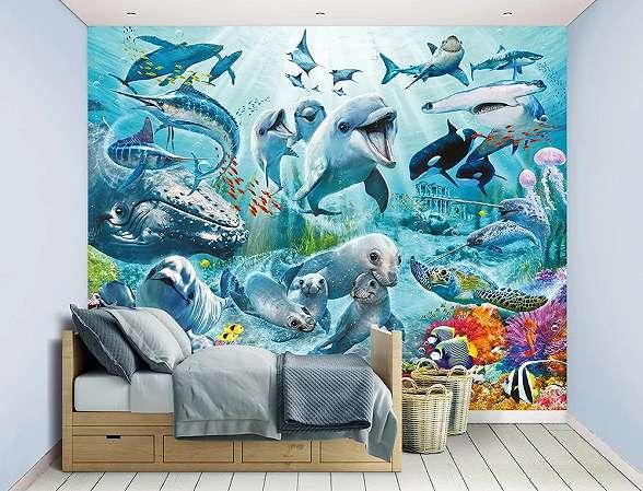 Gyerekszobai fali poszter tengei állatokkal, fóka, delfin, bálna mintával