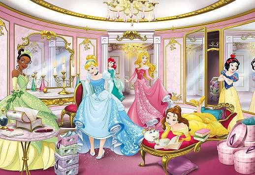 Gyerekszobai óriás fali poszter Disney hercegnőkkel egy csodállatos bálteremben