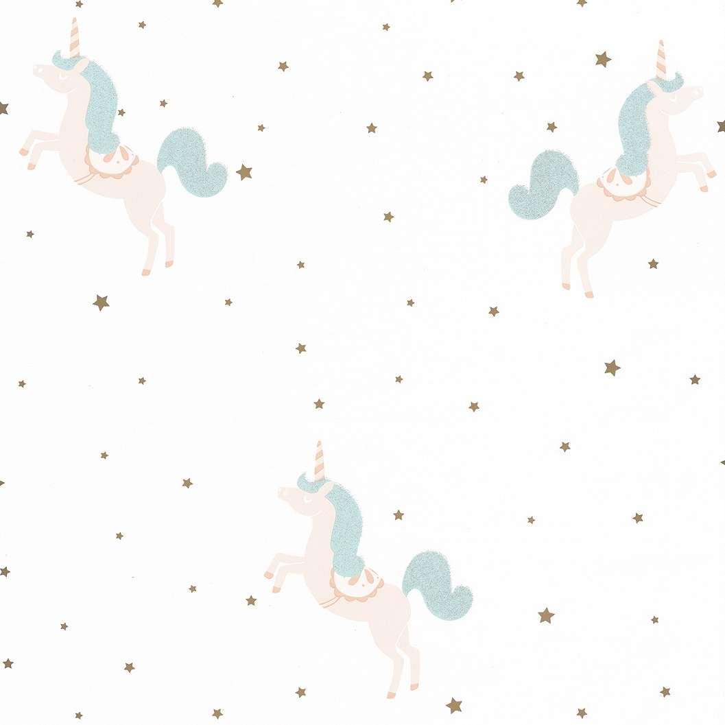 Gyerektapéta apró csillag, pasztell rózsaszín, kék unikornis mintával