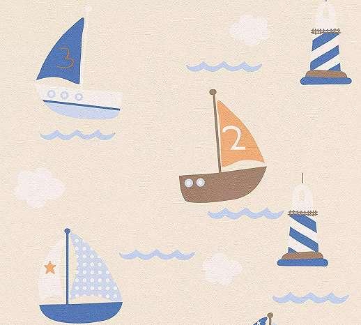 Gyerektapéta hajós mintával natúr bézs, barna színvilágban