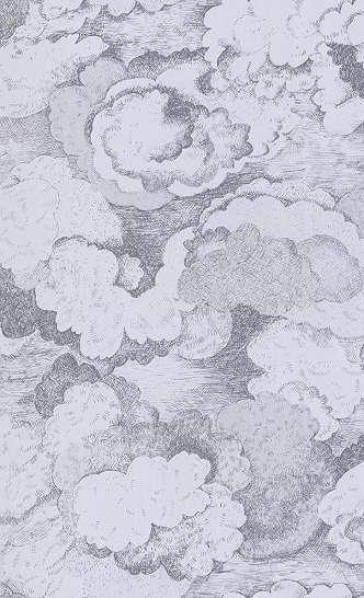 Gyerektapéta halványkék rajzolt felhő mintával