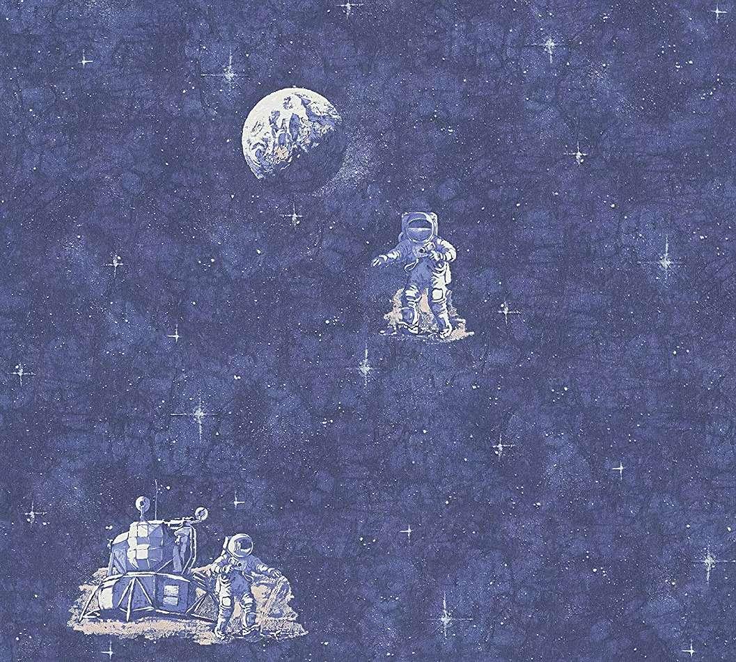 Gyerektapéta kék színben ürhajós mintával