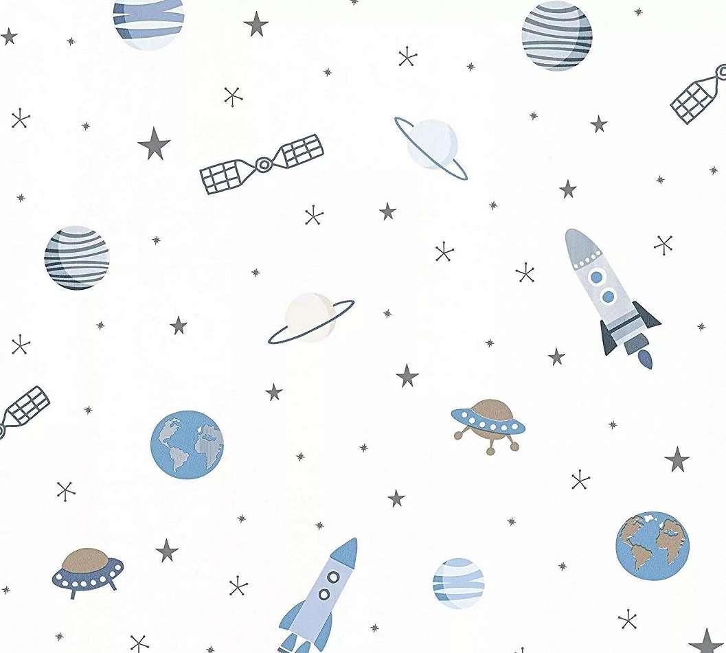 Gyerektapéta rajzolt űrhajó és bolygó mintával kék színben