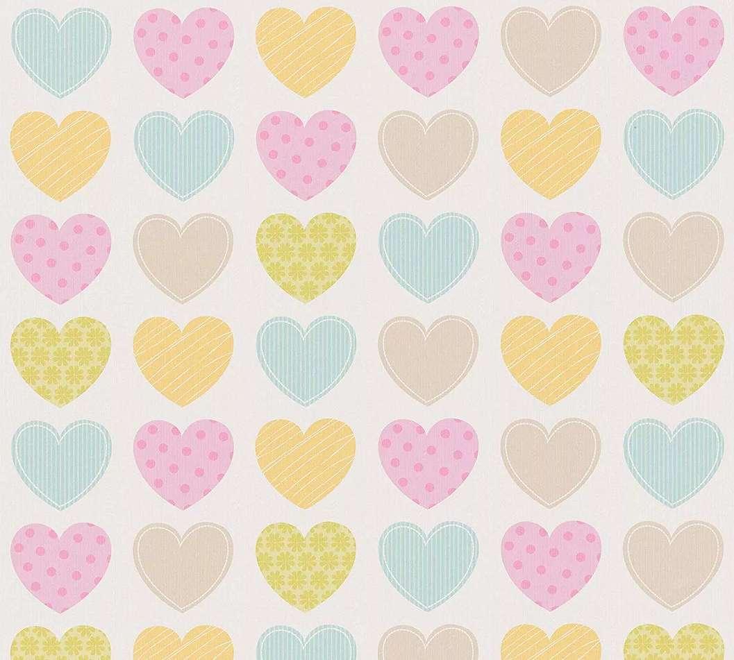 Gyerektapéta sokszínű szivecske mintával