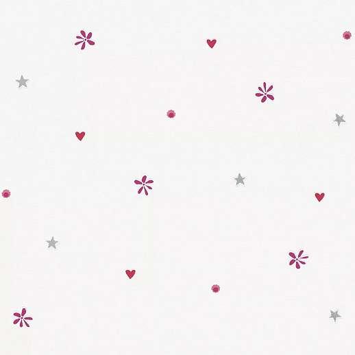 Gyerektapéta szivecske virág és csillag motívumokkal