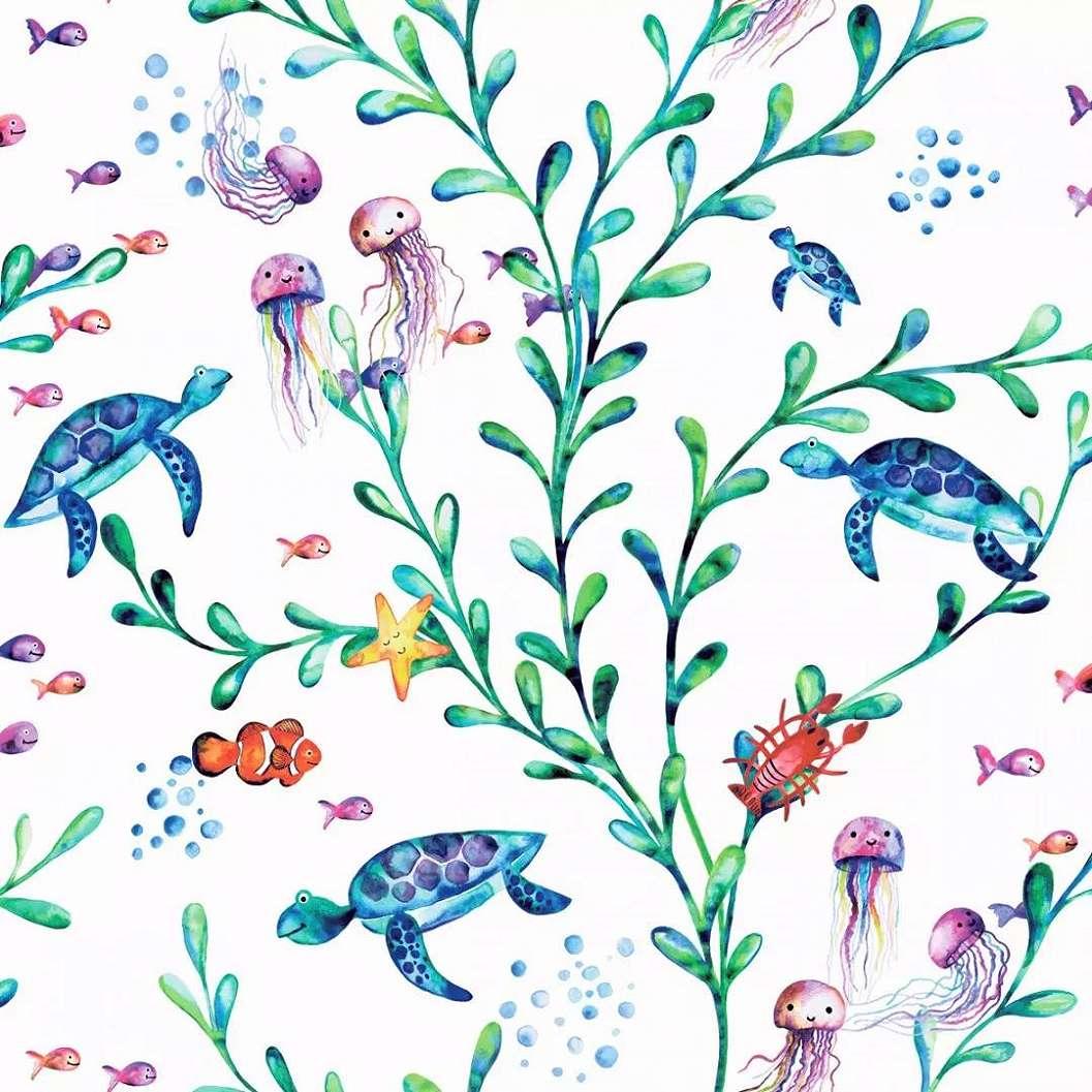 Gyerektapéta tengeri élővilág mintával, teknős, medúza