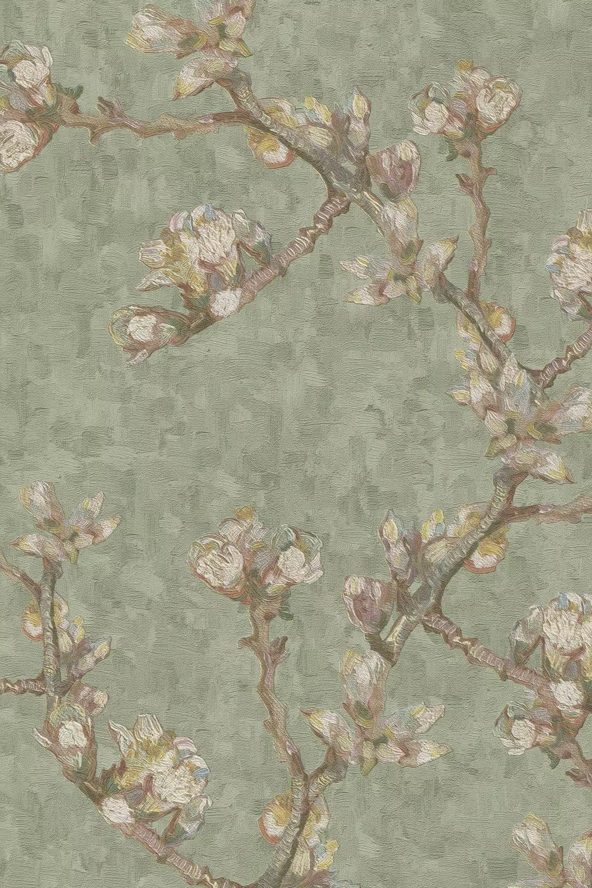 Halvány zöld tapéta virág mintával Van Gogh fesménye alapján