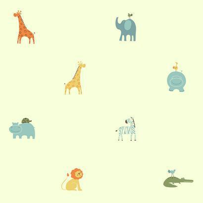 Halványsárga állatfigurás gyerek tapéta