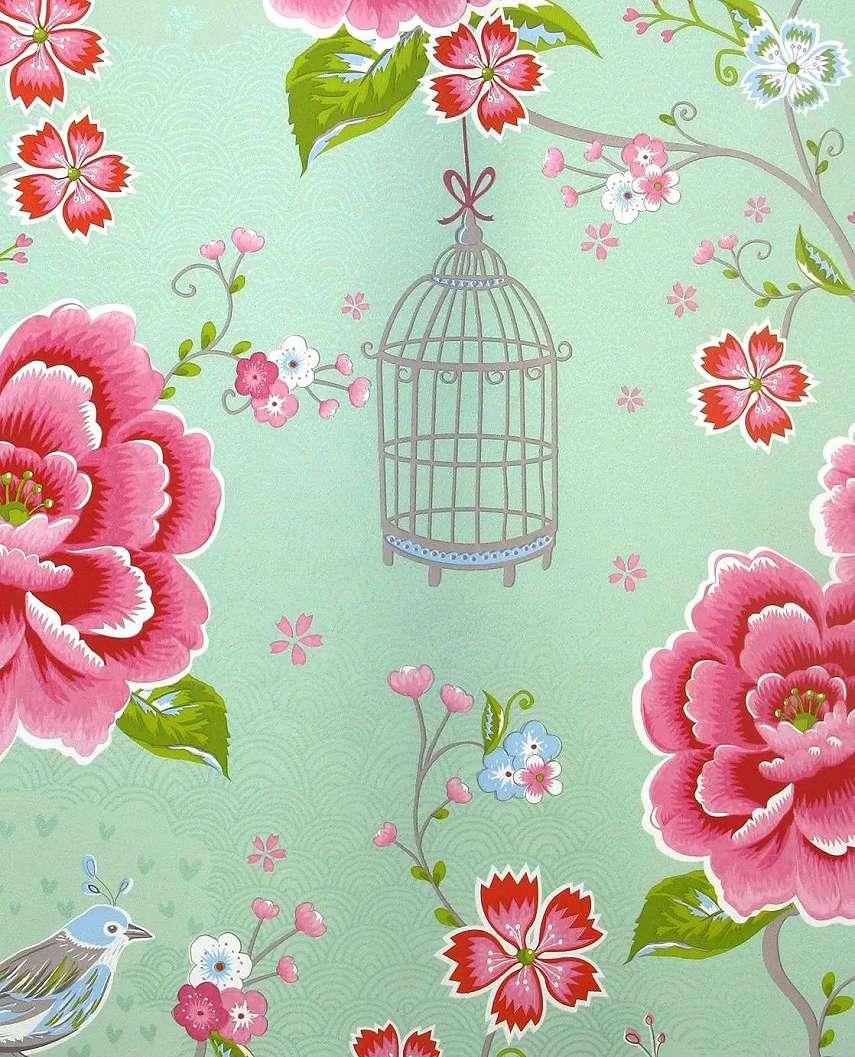 Halványzöld eijffinger luxus tapéta romantikus vintage virágmintával