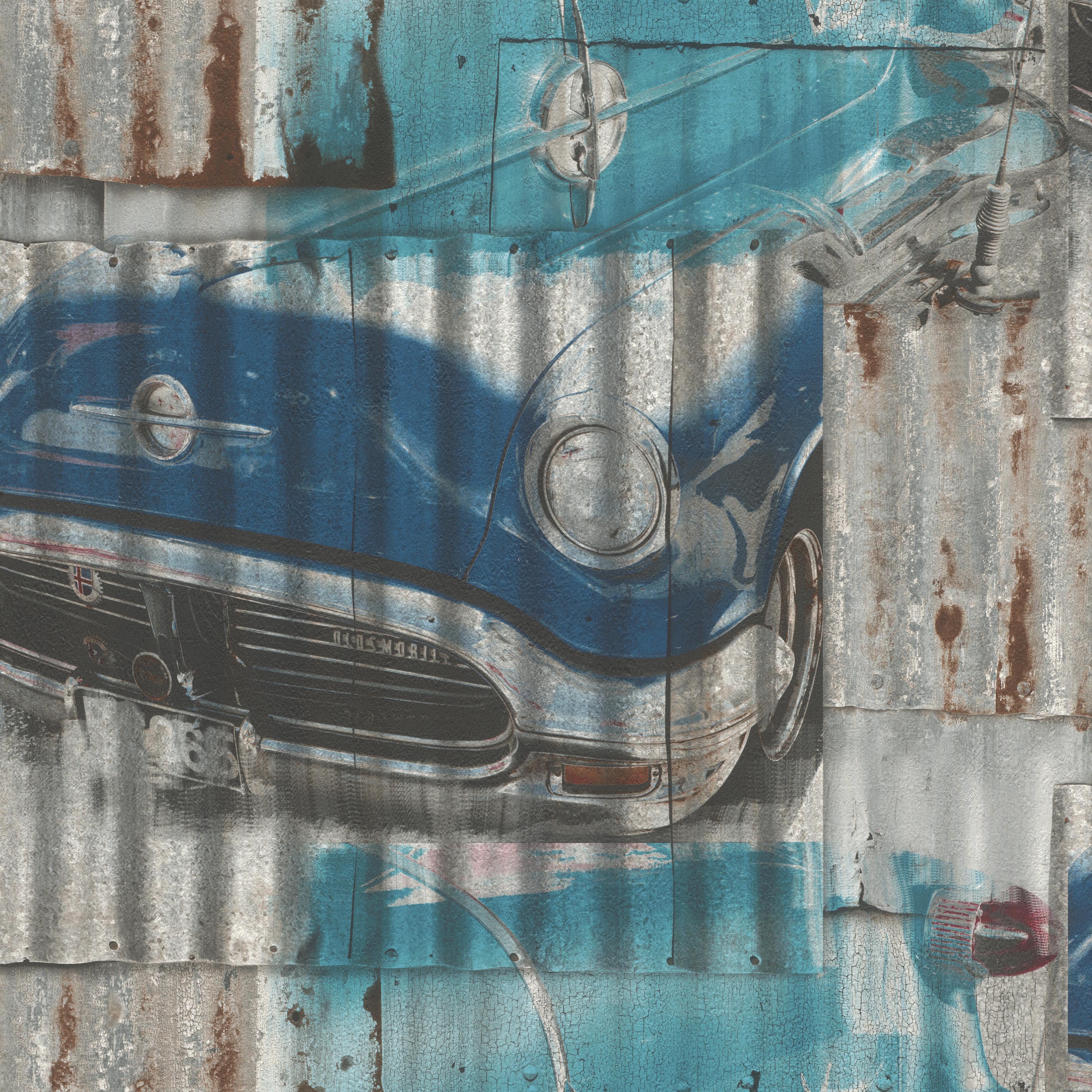 Hangulatós régi autó gyerektapéta kék színvilágban