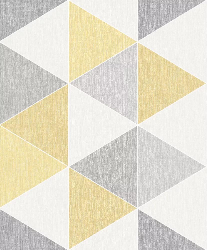 Háromszög mintás tapéta szürke, sárga retro háromszög mintával
