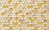 Hatszögű mintázatú fa hatású fali poszter