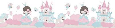 Hercegnős bordűr rózsaszín, kék színvilágba