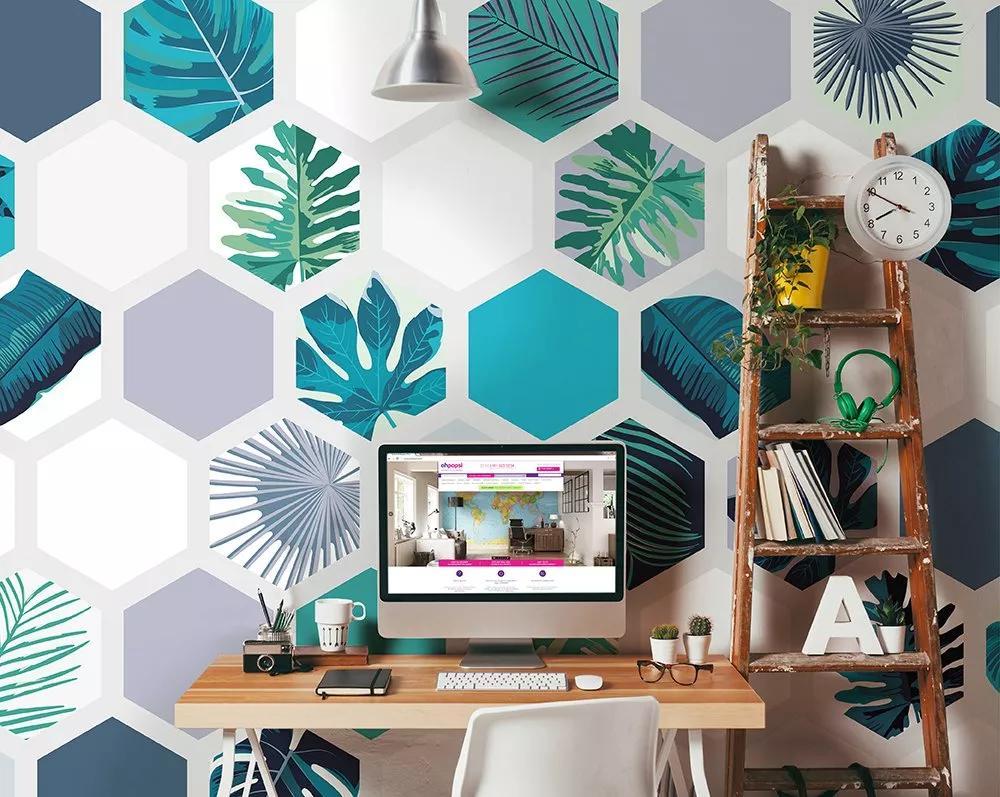 Hexagon mintás modern trendi trópusi hangulatú vlies fali poszter