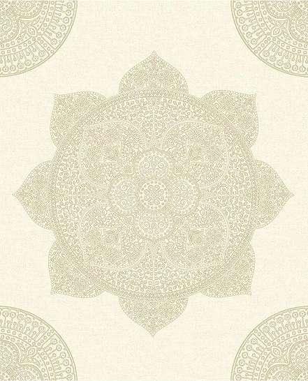 Homoksárga mandala mintás prémium tapéta metál fényű mintával