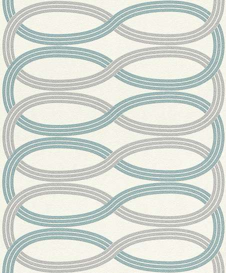 Hullám mintás vlies design tapéta szürke türkiz fehér színvilágban
