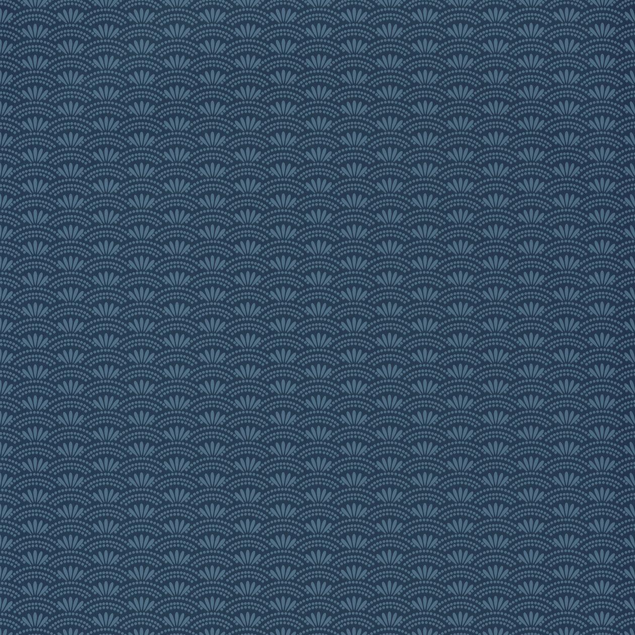 Japán stílusú tapéta sötétkék alapon kék stílizált pikkely mintával