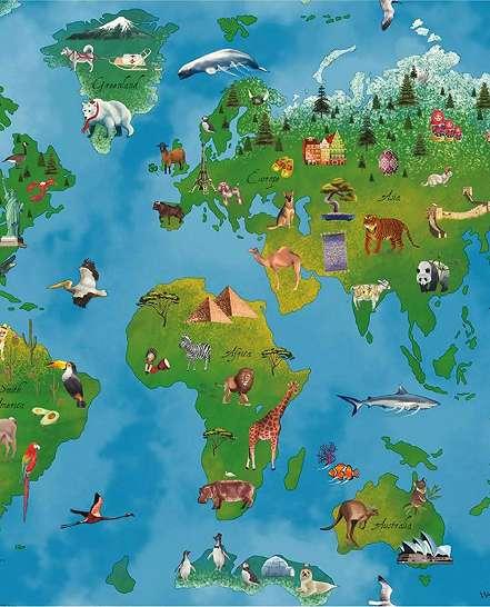 Játékos világtérkép gyerek tapéta