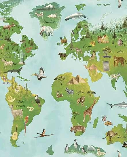 Játékos világtérkép mintás gyerektapéta