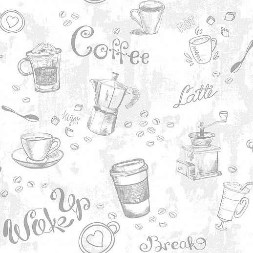 Kávé mintás vlies dekor tapéta